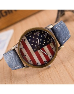 Vintage U.S. National Flag Dial with Jean Wrist Band Design Fashion Watch - Jean Blue