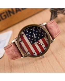 Vintage U.S. National Flag Dial with Jean Wrist Band Design Fashion Watch - Brown