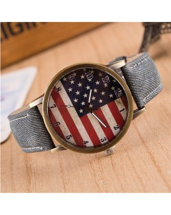 Vintage U.S. National Flag Dial with Jean Wrist Band Design Fashion Watch - Jean Gray