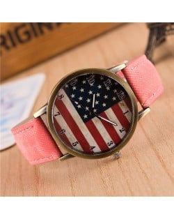 Vintage U.S. National Flag Dial with Jean Wrist Band Design Fashion Watch - Pink