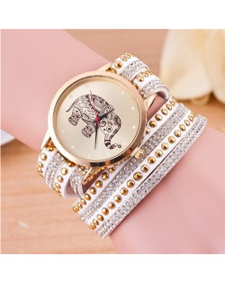 Folk Style Elephant with Multi-layers Beads and Studs Decorated Leather Women Fashion Bracelet Watch - White