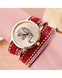 Folk Style Elephant with Multi-layers Beads and Studs Decorated Leather Women Fashion Bracelet Watch - Red